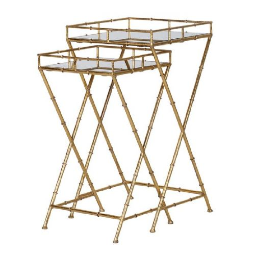 Set of 2 Gold Bamboo & Mirrored Side Tables